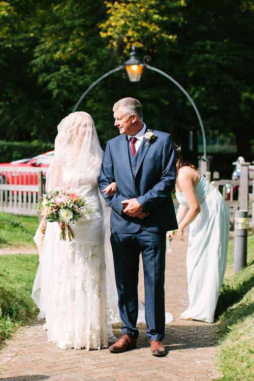 Bridal Entrance in Claire Pettibone Whitney Bridal Gown with Cape | Father of the Bride | DIY Country Wedding at Warborne Farm, Lymington | Camilla Arnhold Photography