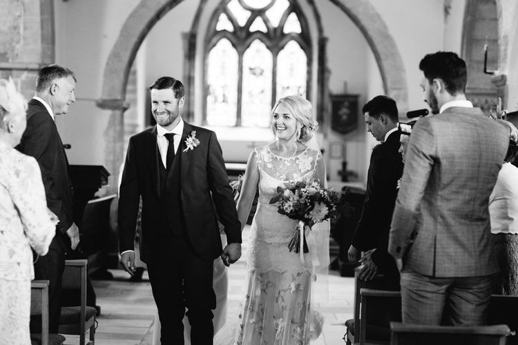Church Wedding Ceremony | Bride in Claire Pettibone Whitney Bridal Gown with Cape | Groom in French Connection Navy Suit | DIY Country Wedding at Warborne Farm, Lymington | Camilla Arnhold Photography