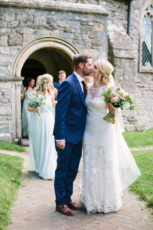 Church Wedding | Bride in Claire Pettibone Whitney Bridal Gown with Cape | Groom in French Connection Navy Suit | DIY Country Wedding at Warborne Farm, Lymington | Camilla Arnhold Photography