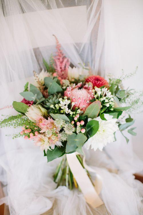 Protea Wedding Bouquet | DIY Country Wedding at Warborne Farm, Lymington | Camilla Arnhold Photography