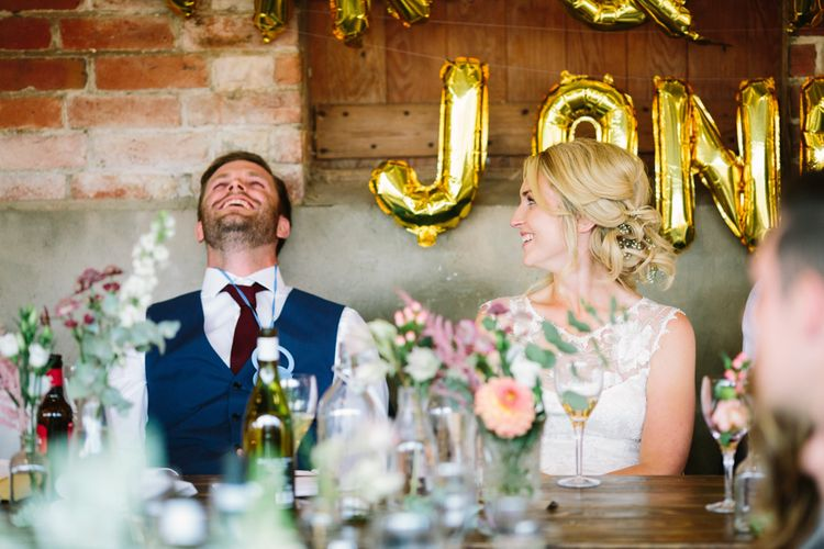 Wedding Reception Speeches | Bride in Claire Pettibone Whitney Bridal Gown with Cape | Groom in French Connection Navy Suit | DIY Country Wedding at Warborne Farm, Lymington | Camilla Arnhold Photography