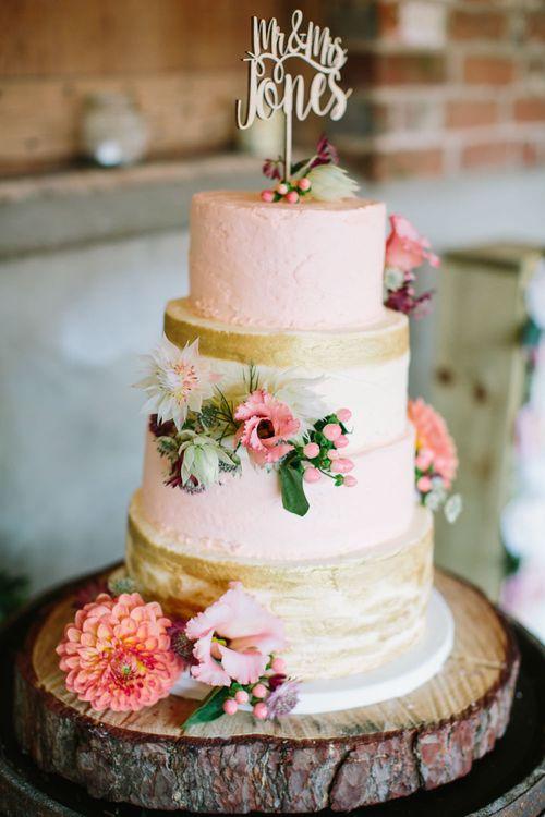 Pink & Gold Wedding Cake | DIY Country Wedding at Warborne Farm, Lymington | Camilla Arnhold Photography