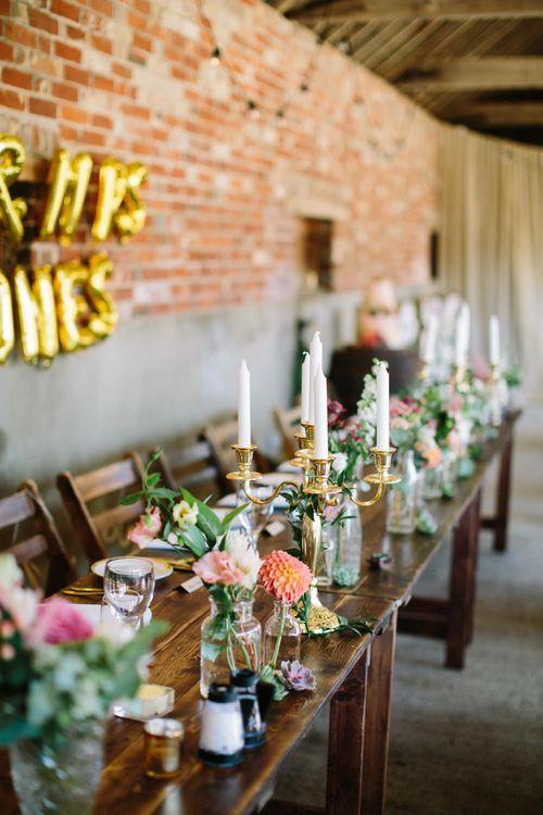 Candelabra Top Table Wedding Decor | DIY Country Wedding at Warborne Farm, Lymington | Camilla Arnhold Photography