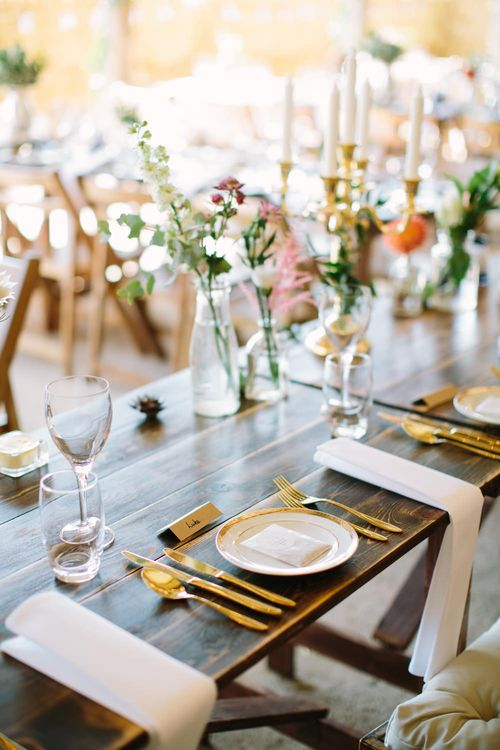 Gold Cutlery Place Setting | DIY Country Wedding at Warborne Farm, Lymington | Camilla Arnhold Photography