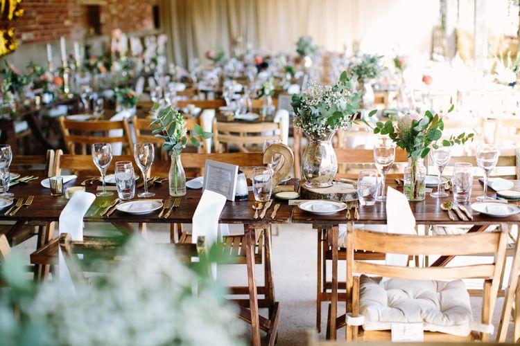 Wedding Reception Decor | DIY Country Wedding at Warborne Farm, Lymington | Camilla Arnhold Photography