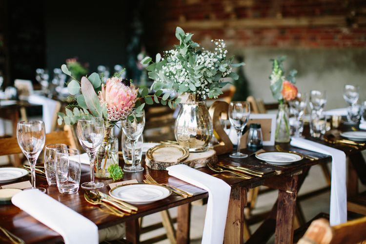 Tablescape Wedding Reception Decor | DIY Country Wedding at Warborne Farm, Lymington | Camilla Arnhold Photography