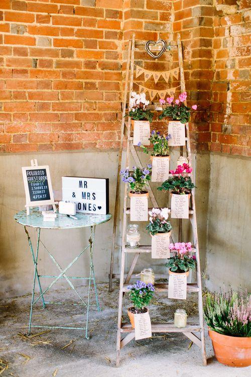 Vintage Step Ladder Table Plan | Light Box | DIY Country Wedding at Warborne Farm, Lymington | Camilla Arnhold Photography