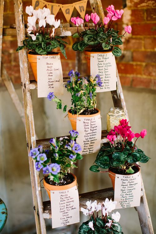 Potted Plant Table Plan | DIY Country Wedding at Warborne Farm, Lymington | Camilla Arnhold Photography