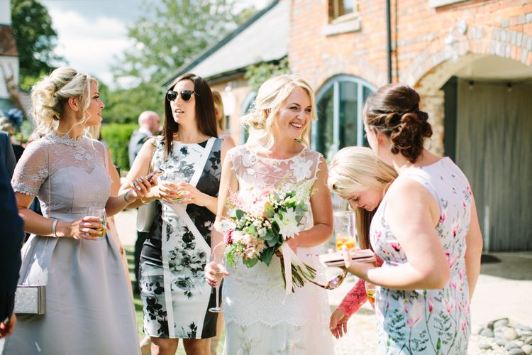 Bride in Claire Pettibone Whitney Bridal Gown | DIY Country Wedding at Warborne Farm, Lymington | Camilla Arnhold Photography