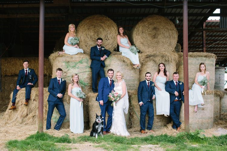 Wedding Party | Bride in Claire Pettibone Whitney Bridal Gown with Cape | Pale Blue Bridesmaid Dresses | Groomsmen in Navy Suits | DIY Country Wedding at Warborne Farm, Lymington | Camilla Arnhold Photography