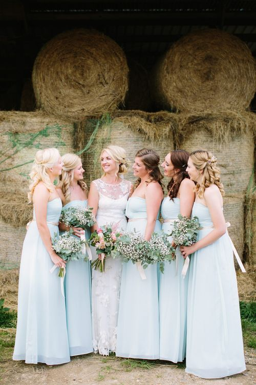 Bridal Party | Bride in Claire Pettibone Whitney Bridal Gown with Cape | Pale Blue Bridesmaid Dresses | DIY Country Wedding at Warborne Farm, Lymington | Camilla Arnhold Photography