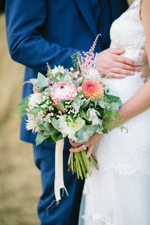 Romantic Protea Wedding Bouquet | DIY Country Wedding at Warborne Farm, Lymington | Camilla Arnhold Photography