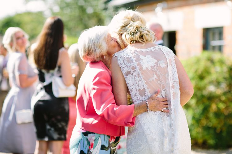 Bride in Claire Pettibone Whitney Bridal Gown with Cape | DIY Country Wedding at Warborne Farm, Lymington | Camilla Arnhold Photography