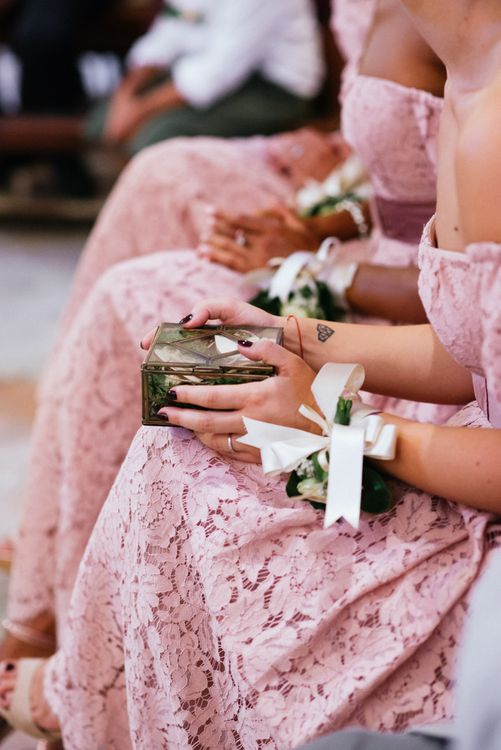 Wedding Ceremony | Bridesmaids in Lace Pink Dresses | Stylish Pink Wedding at Terzo di Danciano, Tuscany, Italy | Lucrezia Senserini Photography | Film by Righi Photography