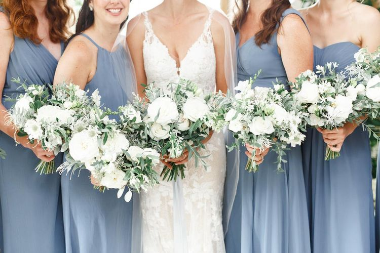 Blue Bridesmaid Dresses  With White Flowers
