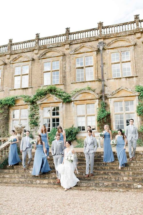 Blue Bridesmaid Dresses For Bridal Party and Grey Bridesmaid Dresses For Grooms Girls