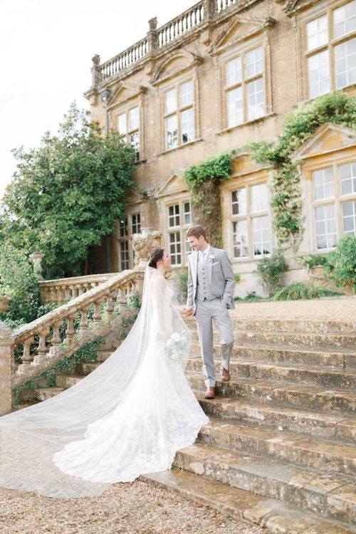 Grey Groom Suit At Brympton House