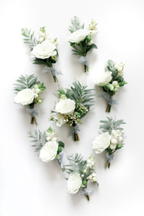 White Wedding Flower Buttonholes