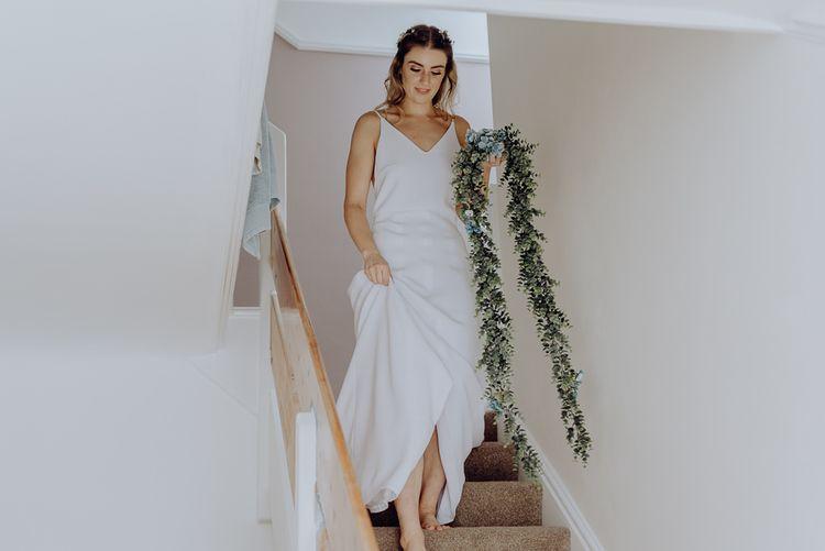 Bride in Slip Wedding Dress with Floral Garland Alternative Wedding Bouquet