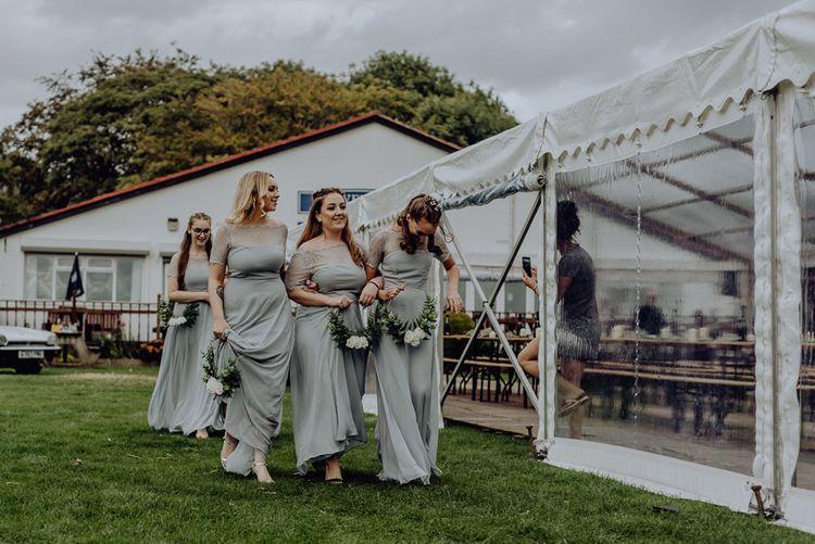 Bridesmaids in Grey ASOS Dresses with Flower Hoops