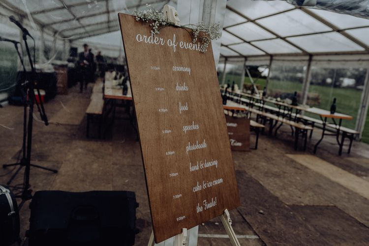 Wooden Order of The Day Wedding Sign with White Calligraphy