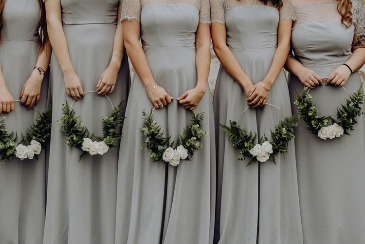 Bridesmaids in Grey Dresses Holding DIY Green & White Hoop Bouquets