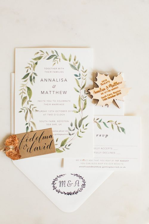 Rustic Wedding Invitations with Wooden Leaf Save The Date , Kraft Name tags and Printed Envelopes