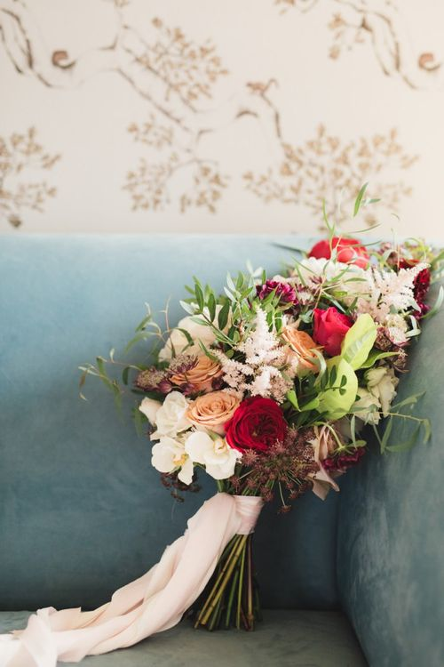 Autumn Bouquet with Red and Pink Roses