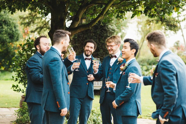 Navy Tweed Suits for Groomsmen from The Vintage Suit Hire Company