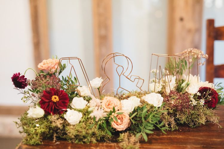 Autumn Red and Pink Flowers with 3D Wire Initial Letters