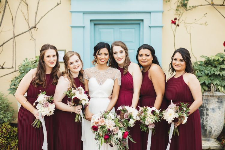 Bridesmaids Wearing Red Bridesmaid Dresses from TNFC