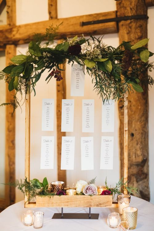 Hanging Wedding Table Plan  with Wooden Frame, Flowers and Candles