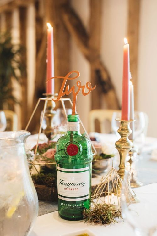 Gin Bottle Table Numbers with Candle Sticks and Candles
