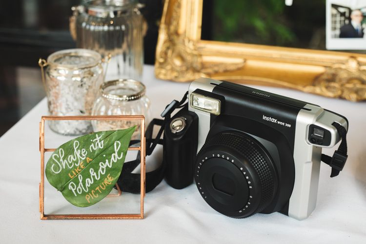 Instax Polaroid Photo Station with Copper and Leaf Sign