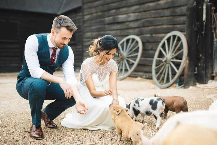 Bride and Groom Meeting the Farm Animals on their Wedding Day