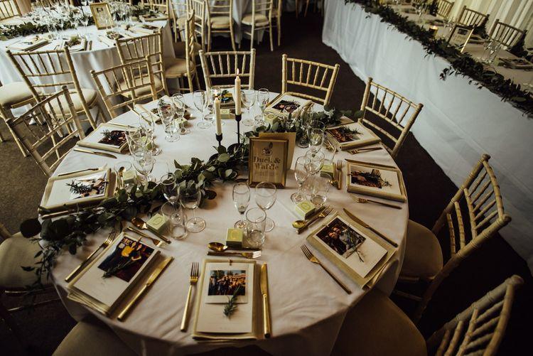 Wedding table with foliage decor