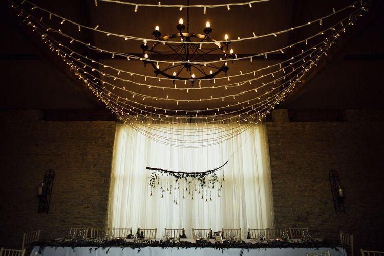 Fairy light canopy for Oxfordshire barn wedding venue