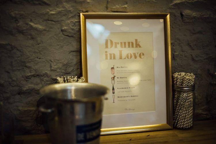 Cocktail menu chosen by bride and groom