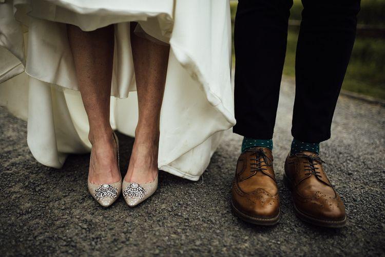 Bride wears Jimmy Choo wedding shoes