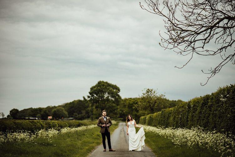 Minimalist Sassi Holford wedding dress for Oxfordshire barn wedding