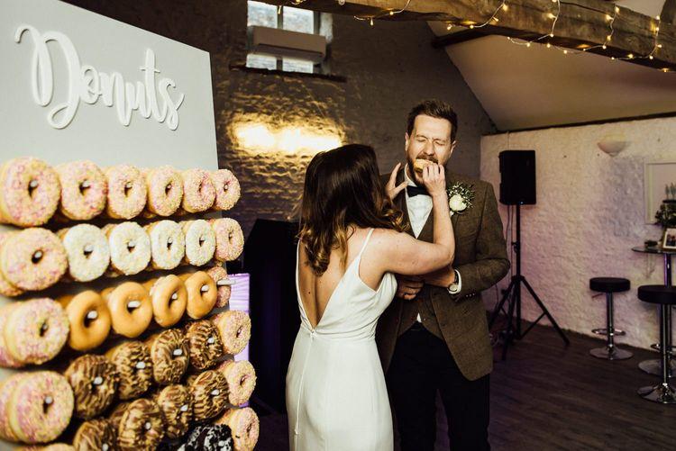 DIY Doughnut wall for Oxfordshire barn wedding