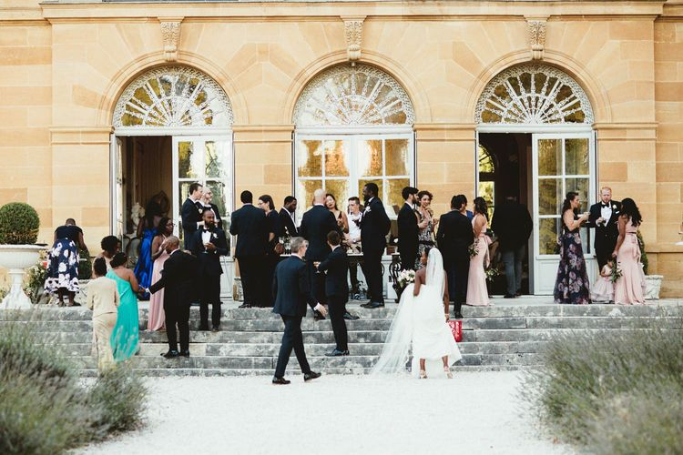 Outdoor drinks reception at Chateau La Durantie, France