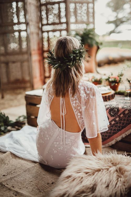 Open back ASOS wedding dress with sheer polka dot sleeves and lace details
