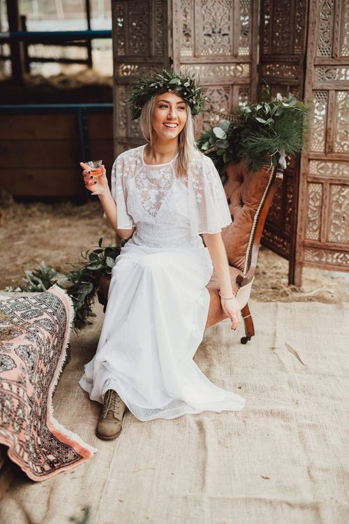 ASOS boho wedding dress with floral appliqué detail and sheer sleeves