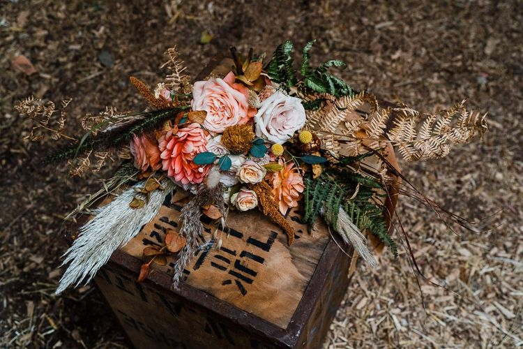 Autumn Wedding Bouquet on Wooden Crate