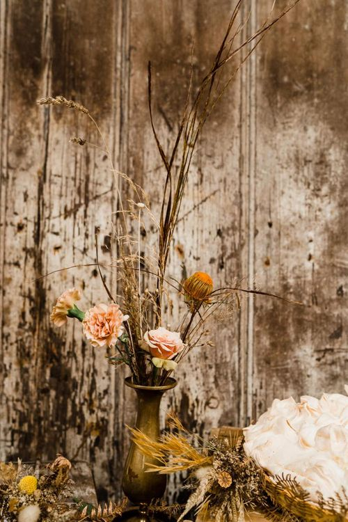 Dried Grasses and Autumn Flowers in Gold Vase