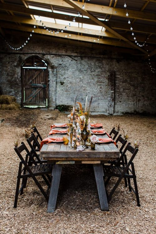 Rustic Barn Reception with Luxury Tablescape