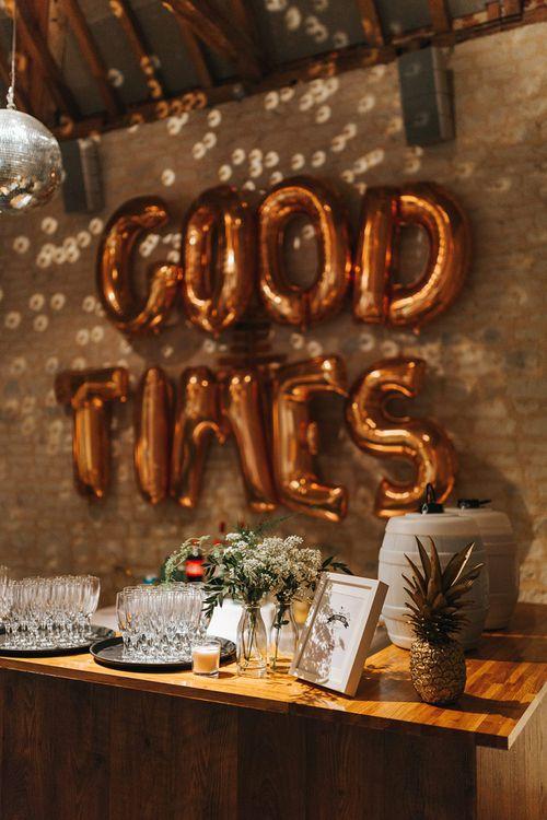 Copper Foil Good Times Balloon Backdrop Wedding Decor