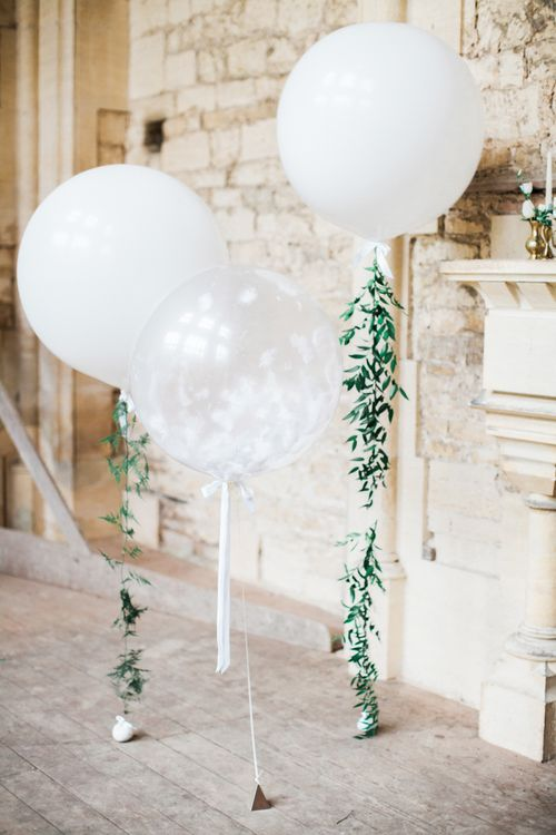 Giant White Balloons with Botanical Vines