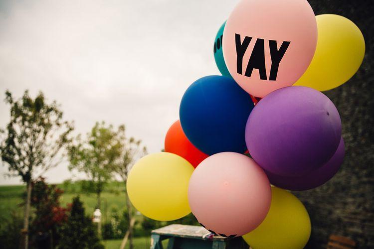 Colourful Balloons Wedding Decor with YAY Slogan Balloon